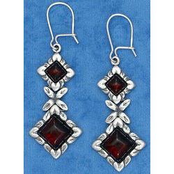 Cherry Amber Diamond Shaped Stone Earrings