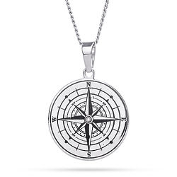 Perosnalized Stainless Steel Compass Pendant with Birthstone