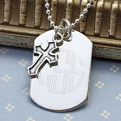 Blessings Boy's Personalized Silver Dog Tag with Cross Charm