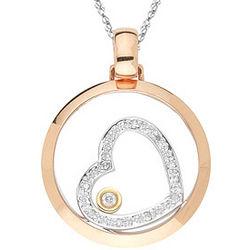 Diamond Tri Tone Heart Pendant in 18K Gold