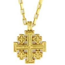 Gold Jerusalem Cross Necklace with 18 Inch Chain