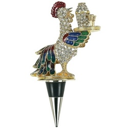 Enameled Serving Rooster Bottle Stopper with Crystals