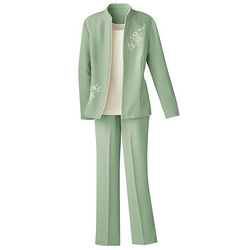 3-Piece Embroidered Pants Suit