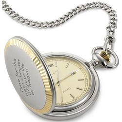 Two Tone Pocket Watch and Chain