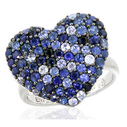 Balissima Sapphire Heart Ring in Sterling Silver