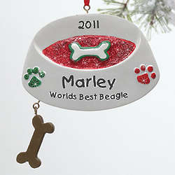 Personalized Dog Bowl Christmas Ornament