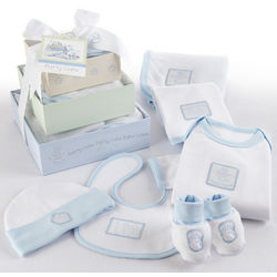 6 Piece Patty Cake Baby Blue Layette Gift Tower