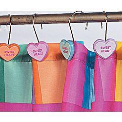 Conversation Hearts Shower Curtain Hooks