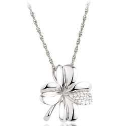 Sterling Silver Irish Forget Me Not Stone Set Pendant with Chain