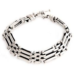 Men's Fences Sterling Silver Link Bracelet