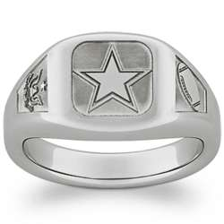 Personalized Military and Services Tungsten Signet Ring