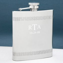 Matte and Stainless Steel Nathan Patterned Flask