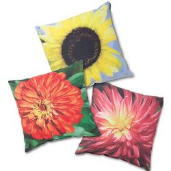 Decorative Floral Outdoor Throw Pillow