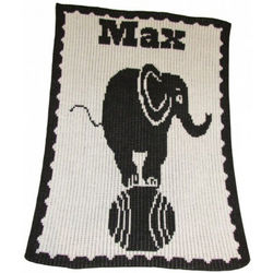 Elephant On A Ball Personalized Stroller Blanket
