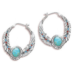Sedona Sky Turquoise Earrings with Eagle Feather Design