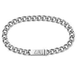 Men's Stainless Steel Cuban Link Initial Bracelet