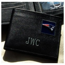 Personalized Black Leather New England Patriots Wallet