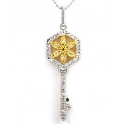 Diamond and Sterling Silver Flower Key Pendant