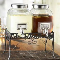 Mason Jar Dual Drink Dispensers on a Stand