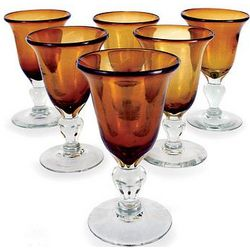Golden Amber Blown Glass Goblets