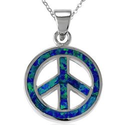 Blue Lab-Created Opal Peace Sign Pendant and Chain