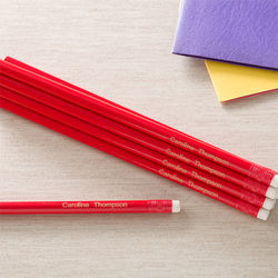 Personalized Red Pencil Set