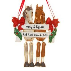 Two Horses Personalized Christmas Ornament