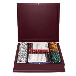 100 Tri Color Ace/King Suited Chips in Mahogony Case