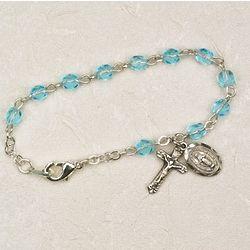 Baby's Deluxe Aquamarine Rosary Bracelet