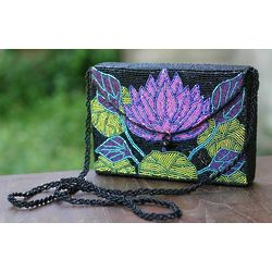 Lilac Lotus Beaded Handbag