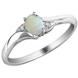 Opal and Diamond Ring in 10 Karat White Gold
