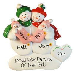 Snow Couple Parents Holding Twin Girls Personalized Ornament