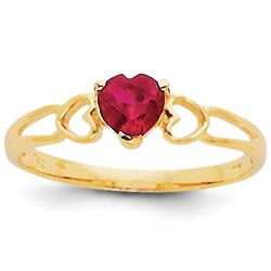 Ruby Heart Promise Ring in 14 Karat Gold