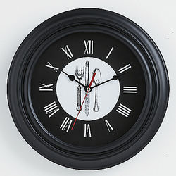 Black Flatware Clock