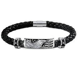 Men's Star-Spangled Banner Leather Bracelet with Engraving