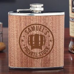 Walden Custom Private Stock Wood Wrapped Hip Flask