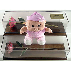 It's A Girl Preserved Perfect Pink Rose with 24K Gold Trim