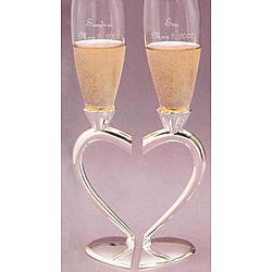 Personalized Wedding Champagne Flute Set with Silver Heart