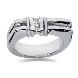 0.20 ctw Men's Diamond Ring in 18K White Gold