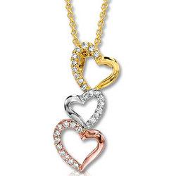 14k Tri Tone 1/6ct Diamond Triple Heart Necklace