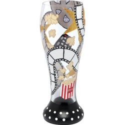 Movie Time Hand-Painted Beer Glass