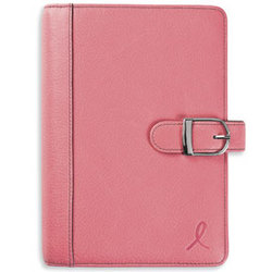 Pink Ribbon Leather Snap Binder