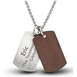 Steel and Rosewood Double Dog Tag Set