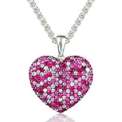Balissima Pink Sapphire and Ruby Heart Pendant in Sterling Silver