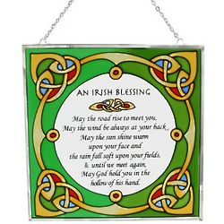 Irish Blessing Square Painted Glass Window Hanging