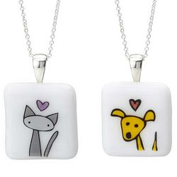 I Love My Pet Glass Pendant Necklace