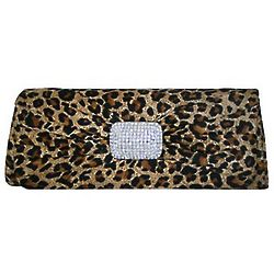 Leopard Rhinestone Flap Clutch Handbag