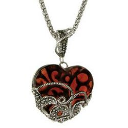 Vintage Style Glass Heart Sterling Silver Marcasite Pendant