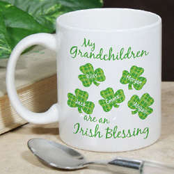 Irish Blessings Shamrock Personalized Coffee Mug