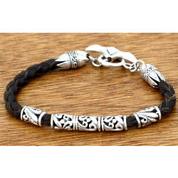 Men's Glory Sterling Silver and Leather Braided Bracelet